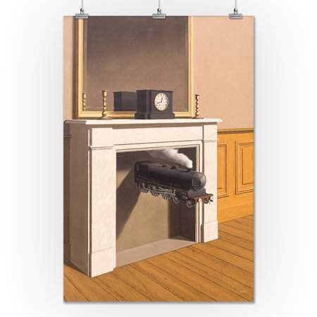 Lantern Press Time Transfixed - Masterpiece Classic - Artist: Rene Magritte c.1938 (24x36 Giclee Gallery Print, Wall Decor Travel Poster)