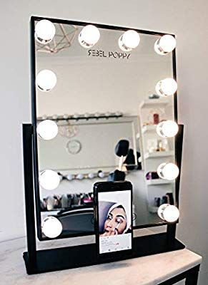 Amazon Com Vanity Mirror With Lights And Phone Mount Hollywood Style Make Mirror With Led Lights Makeup Vanity Mirror With Lights Makeup Mirror With Lights