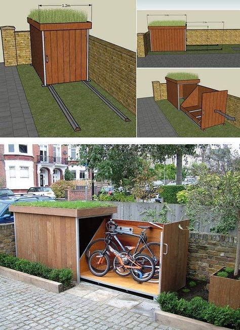 Bike storage 15 DIY Ways To Brilliantly Organize Your Backyard And Make All Your Neighbors Jealous Aufbewahrung garten aufbewahrung garten diy Backyard Bike Brilliantly DIY Jealous Neighbors Organize storage ways