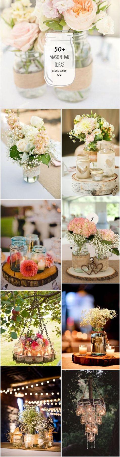 mason jar rustic wedding decor ideas - http://www.deerpearlflowers.com/50-ways-to-incorporate-mason-jars-into-your-wedding/