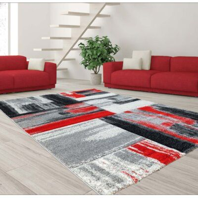 Ebern Designs Croskey Abstract Red Gray Area Rug In 2020 Living
