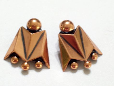 Vintage RENOIR Copper Modernist Geometric Beaded by TheCopperCat, $20.00