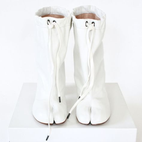 16e1020c1f1 MAISON MARTIN MARGIELA split toe white leather high heel shoes tabi boots  36 NEW  MaisonMartinMargiela  SlouchBoots  CasualDressParty