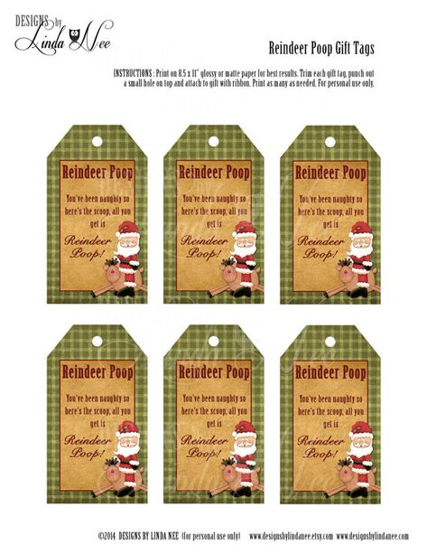 Reindeer Poop - Gift Tag Labels - Printable gift tags with poem that you can package up and give away as gifts. They are also perfect for all