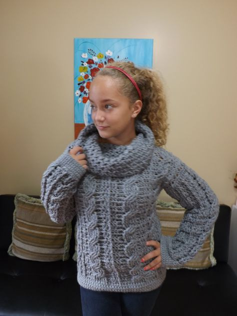 Crochet Adult Cable Sweater Part 2