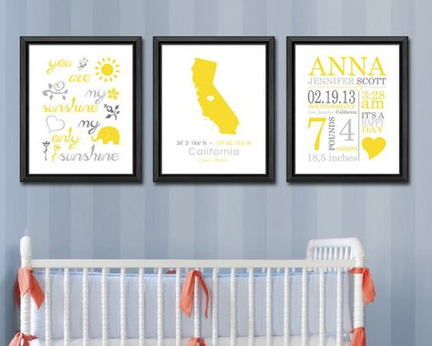 baby date of birth print, birth statistics announcement, new baby gift, state baby with you are my sunshine, nursery birth print set of 3 by PinkeeArt on Etsy, $36.00