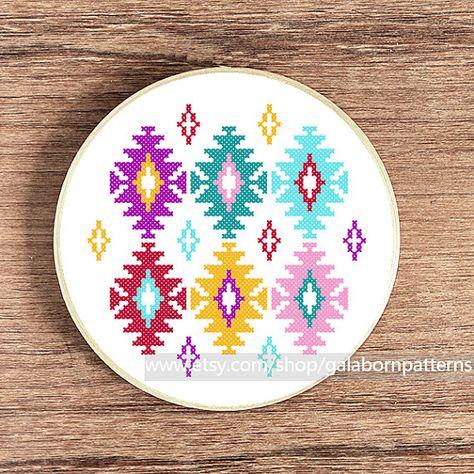Ikat cross stitch pattern - PDF Counted cross stitch - Modern cross stitch - Instant download