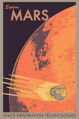 Amazon Com Hse Explore Mars Retro Classic Planet Outer Space Gem 36x24 Posters Prints With Images Retro Space Posters Space Poster Space Travel Posters