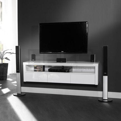 meubles tv   Meuble TV Hi-fi design suspendu SERENA, 3 tiroirs ...