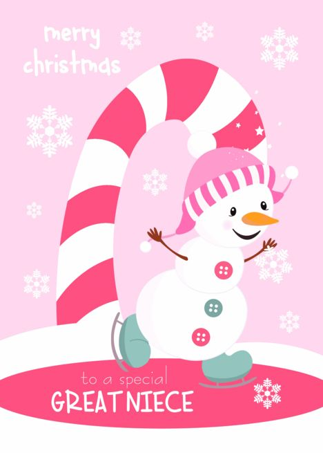 Merry Christmas Niece.Christmas For Great Niece Ice Skating Snowman Card