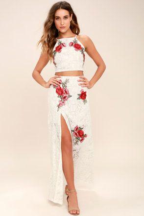 3f8279713a0 Take a Vow Ivory Lace Two-Piece Maxi Dress 10