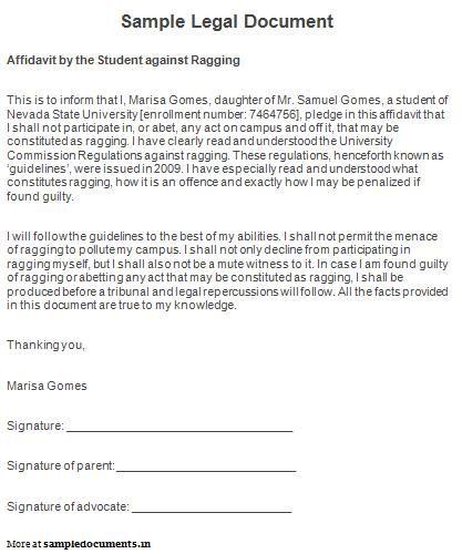 Sample Legal Document Legal Documents Pinterest - affidavit sample
