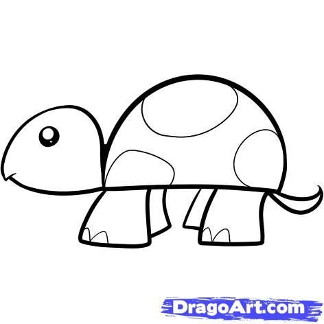 Peace Sign Coloring Pages Turtle Drawing Easy Cartoon Drawings