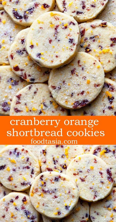 Cranberry Orange Cookies - a tender, buttery shortbread slice and bake cookie loaded with tangy cranberries and zingy orange. These easy-to-make cookies melt in your mouth! and bake in your mouth orange