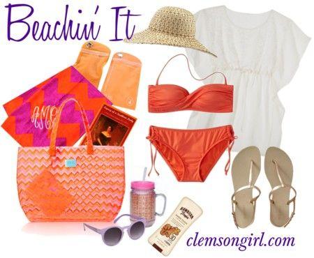 Clemson Girl - Must haves for a #Clemson Girl's day at the beach #clemsongirl #summer
