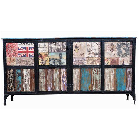 Distressed Large Sideboard Multi Coloured 107x209cm Big