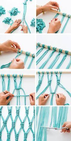 macramé technique, corde turquoise, branchette, ciseaux, diy macramé, tuto rideau