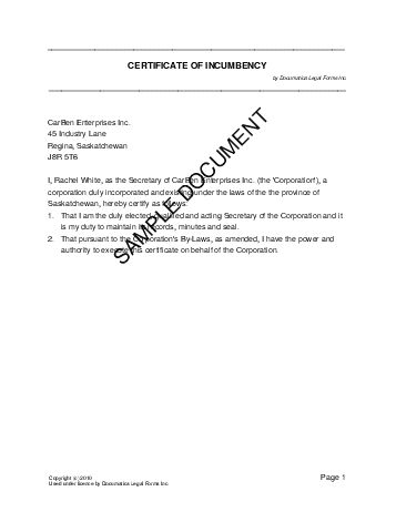 Printable Sample Certificate Of Incumbency Form Laywers Template - certificate of authority sample