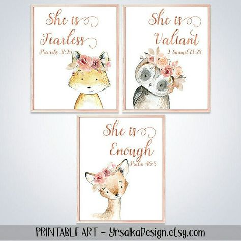 Bible verses (proverbs for baby girl nursery. Printable set of 3 watercolor paintings of woodland animals - owl, deer and fox. Deer Nursery, Woodland Animal Nursery, Baby Girl Nursery Themes, Woodland Nursery Decor, Floral Nursery, Woodland Animals, Nursery Paintings, Painting Of Girl, Watercolor Paintings