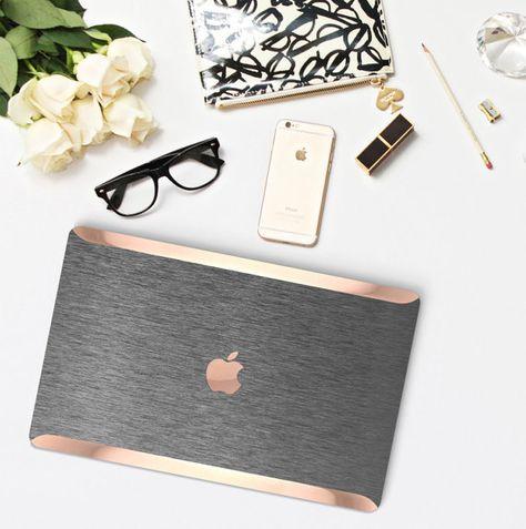 Platinum Edition Brushed Steel with Rose Gold/Copper Edge Detailing Hybrid Hard Case for Apple Macbook Air & Mac Pro 13 Retina, Macbook 12
