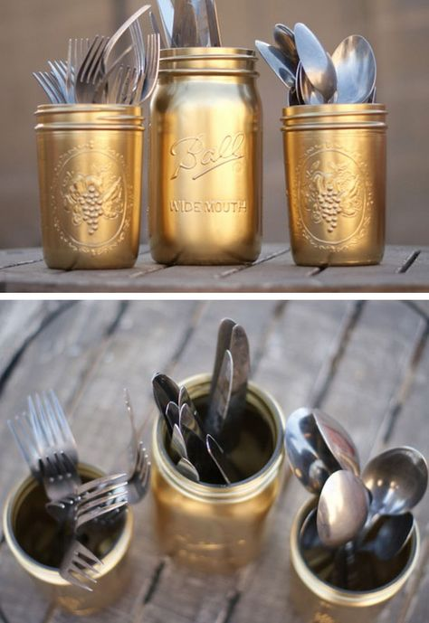Gold Painted Silverware Mason Jars | Click Pic for 28 DIY Kitchen Decorating Ideas on a Budget | DIY Home Decorating on a Budget