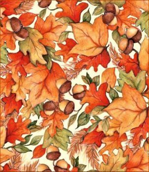Autumn Leaves and Acorns on gold fabric 100/% cotton per Fat Quarter