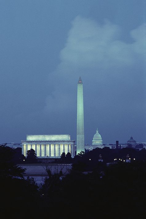 Washington Memorial, Lincoln Memorial, and Capitol Building in Washington DC at Night