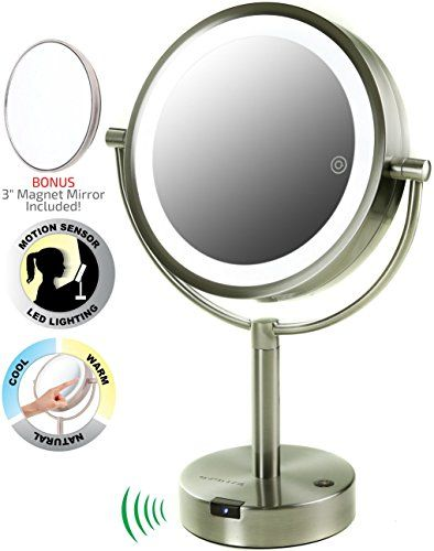 Ovente 360 Degree Led Lighted Tabletop Makeup Mirror With Motion Sensor 8 5 Inch Dual Sided 1x 5x Magnification Smart Touch Technology Nickel Brushed Mpts Makeup Mirror Tabletop Vanity Mirror Mirror