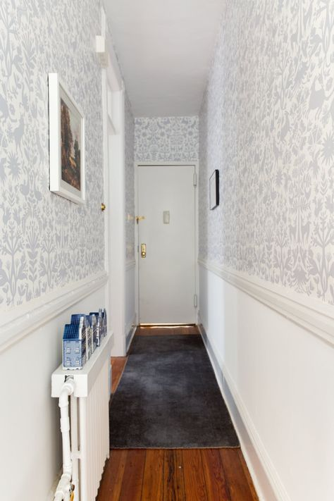 894d67c21acc2 The entryway and exit lined with Hygge   West temporary wallpaper tiles.