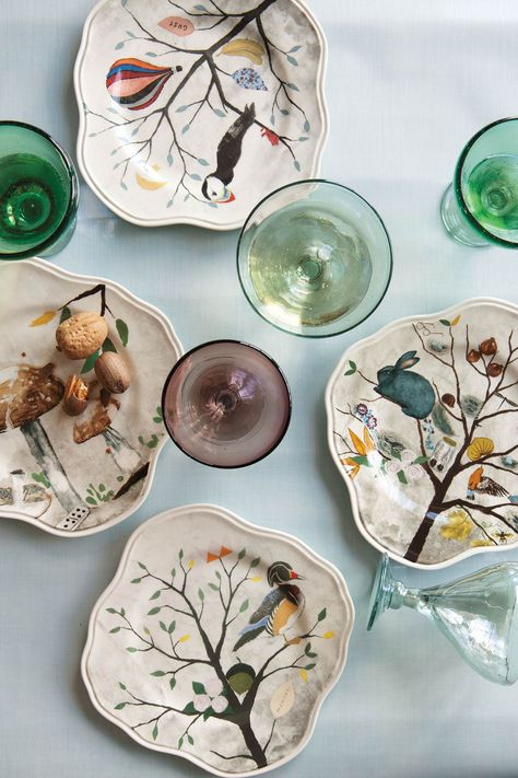 Curious Deciduous Dinnerware   inspiration: Rebecca Rebouche's Flutter and Flight and Patch of Shade paintings.  Fun!!
