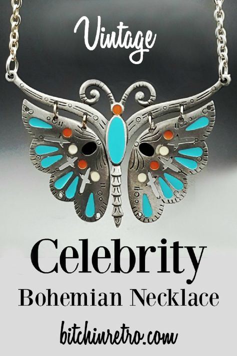 Mothers Day Gift For Her Enameled Butterfly Statement Necklace Bronze Butterfly Pendant Necklace