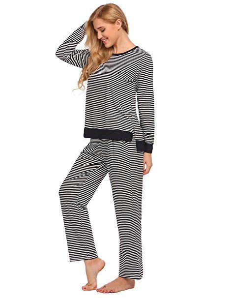 94ad4a9611 ADOME Damen Schlafanzug STREIFEN Baumwolle Pyjama set sleepwear leicht  Atmungsaktiv: - pyjama pyjamas frauen unterwäsche pyja… | Ladies Nightware  Style in ...