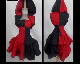 Harley Quinn Inspired Villain Style Brick Red Black Top Hoodie Corset, Mini Skirt, Add-a-Bustle Costume by LoriAnn Costume Designs 1091