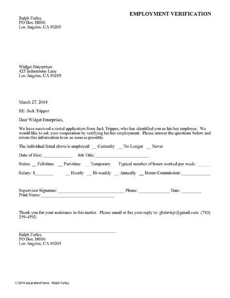 Printable Sample Rental Verification Form Form Being A Landlord