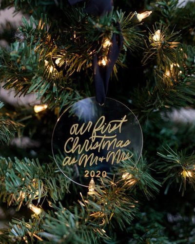 Our First Christmas as Mr  Mrs Decoration with customizable date | Our First Christmas Customizable Christmas Ornament #weddingornament #married2020 #tiedtheknot2020 #tiedtheknot #justmarried #firstchristmas #firstchristmasornament #mrandmrs #firstornament #acrylicornament #handletteredornament #customornament #christmasgift #personalgift