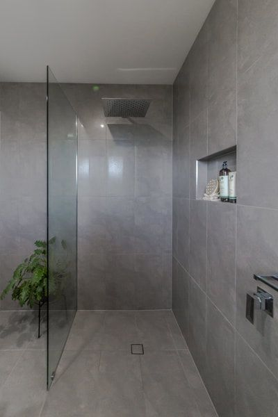 Grey Floor And Wall Tile In Open Shower Bathroom Renovations By