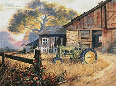 Hand Painted Original Water Color Barn scene with Tractor Water Colour Blank Card