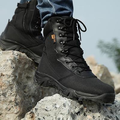 b5b95e8830 Spring Men Military Tactical Boots High Top Canvas Round Toe Zipper ...