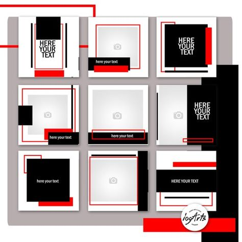 The set of templates RED-Black. Social Media Templates | Etsy