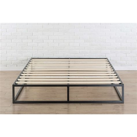 King Size Modern 10 Inch Low Profile Metal Platform Bed Frame With Wood Slats In 2020 Metal Platform Bed Low Platform Bed Frame Platform Bed Frame