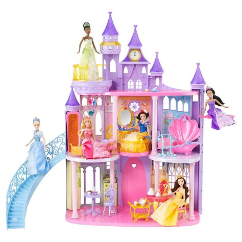 The quintessential princess castle that every little girl will want! This castle is three stories tall and features iconic rooms themed to each of the princesses and over 50 different play pieces to bring the fairytales to life. Features and areas of play include: Tianas kitchen, where she can whip up a pot of gumbo for all her princess friends