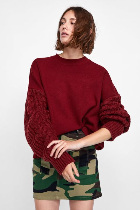 Image 2 of SWEATER WITH CABLE KNIT SLEEVES from Zara