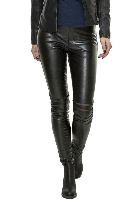Only Damen PU Leder Leggings Cool Mesh Legging Hose Jeans Damenhosen Black WOW