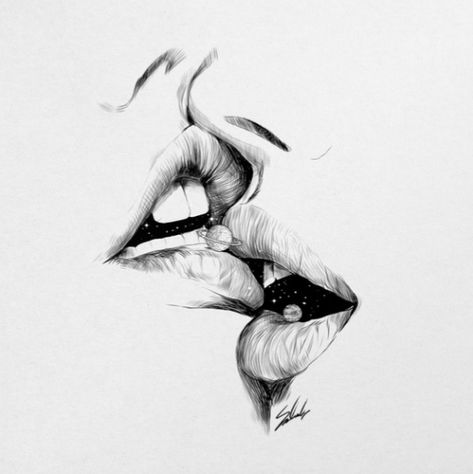 Women French Kiss / Illustration with black pencil of two woman. Galaxy and planet in our mouse between kiss. Sensuality on lips with lot of love. Graphic design. Shop this poster, art print or frame for your wall in your home decoration by Society6.