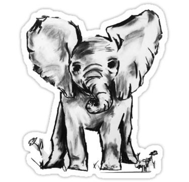 Black And White Elephant Sticker By Maryhop In 2020 Elephant Stickers Black And White Stickers Elephant Black And White