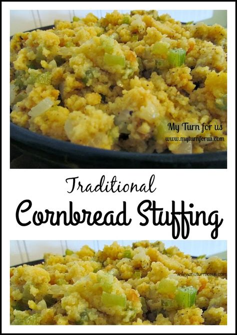 Traditional Cornbread Stuffing with a very flavorful sage!  http://www.myturnforus.com/2013/11/cornbread-stuffing.html