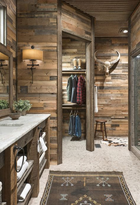 Get a free quote on rustic pre-fab wood wall panels today. Each reclaimed pallet wood wall covers 4 square feet and installation is fast and easy. Reclaimed Wood Wall Panels, Rustic Wood Walls, Wood Panel Walls, Wood Paneling, Salvaged Wood, Wood Wood, Bathroom Wall Panels, Wood Bathroom, Bathroom Closet