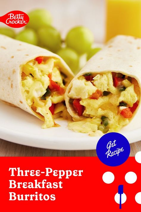 Our Three Pepper Breakfast Burritos are a perfect easy breakfast recipe. Pin today for a fuss-free meal.