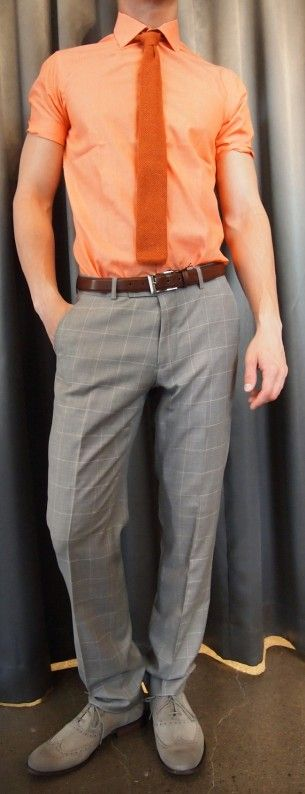 SAND orange shirt $175, Moods of Norway plaid pant $195, Dibi knit tie $35, Strellson belt $120, John Varvatos brogues $225 all from Gotstyle Menswear.