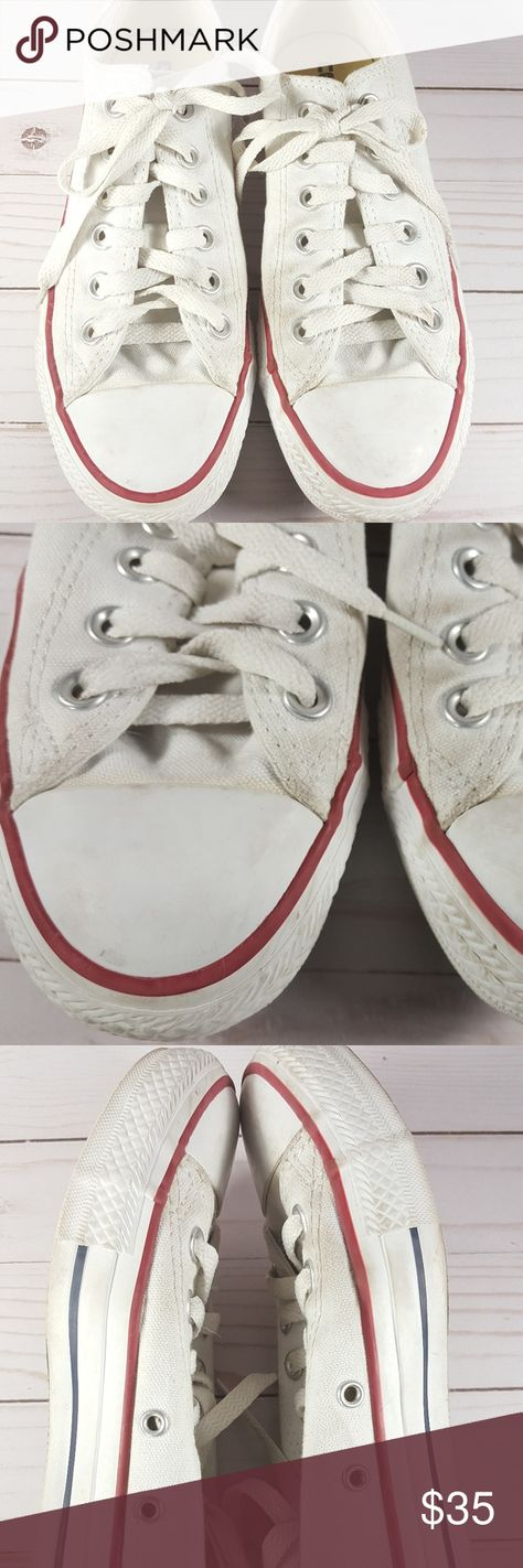 9427fbd9c9f1 Converse Chuck Taylor All Star Lo White Canvas Pre-loved Converse Chuck  Taylor All Star Lo white canvas sneakers unisex. M7652 -- Labeled women s  Size 7 and ...